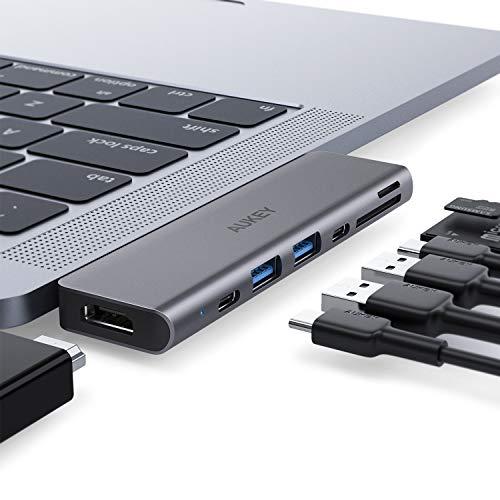 AUKEY USB C Hub Macbook Pro Adapter (Thunderbolt 3 Dock mit 4K HDMI, 2 USB 3.0, SD- und MicroSD)