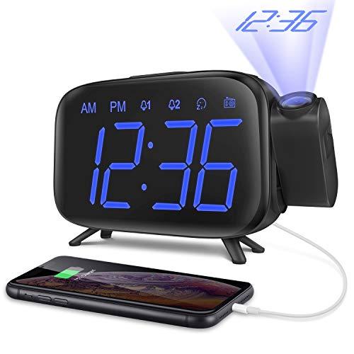 Elehot Projektionswecker 180° Projektion, 7 Alarmtöne Snooze, FM Radio, USB-Anschluss