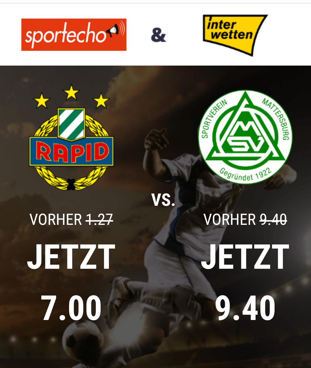 20,67€ Fix Gewinn - Sure Bet Wettgewinn auf Rapid-Mattersburg (Neukunden)