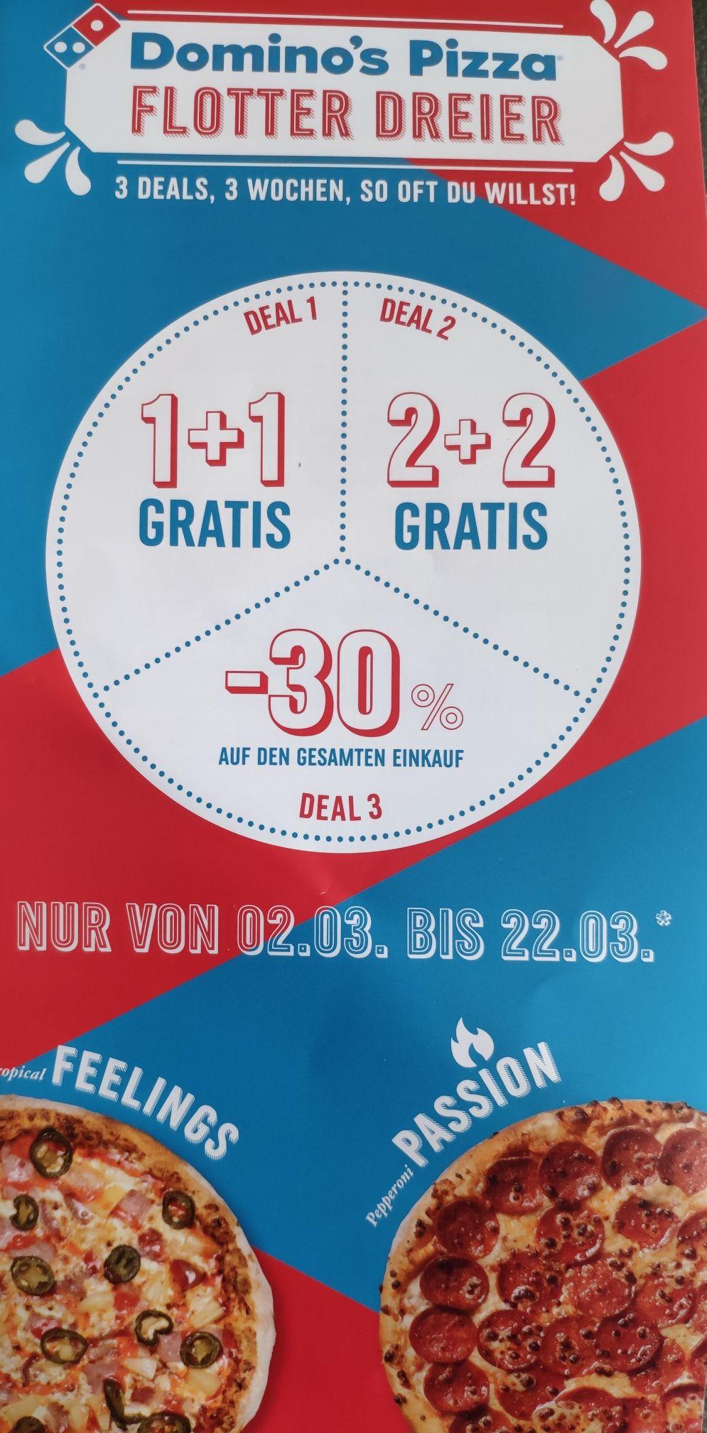 Dominos Pizza 1+1 Gratis, 2+2 Gratis, 30% auf Gesamteinkauf