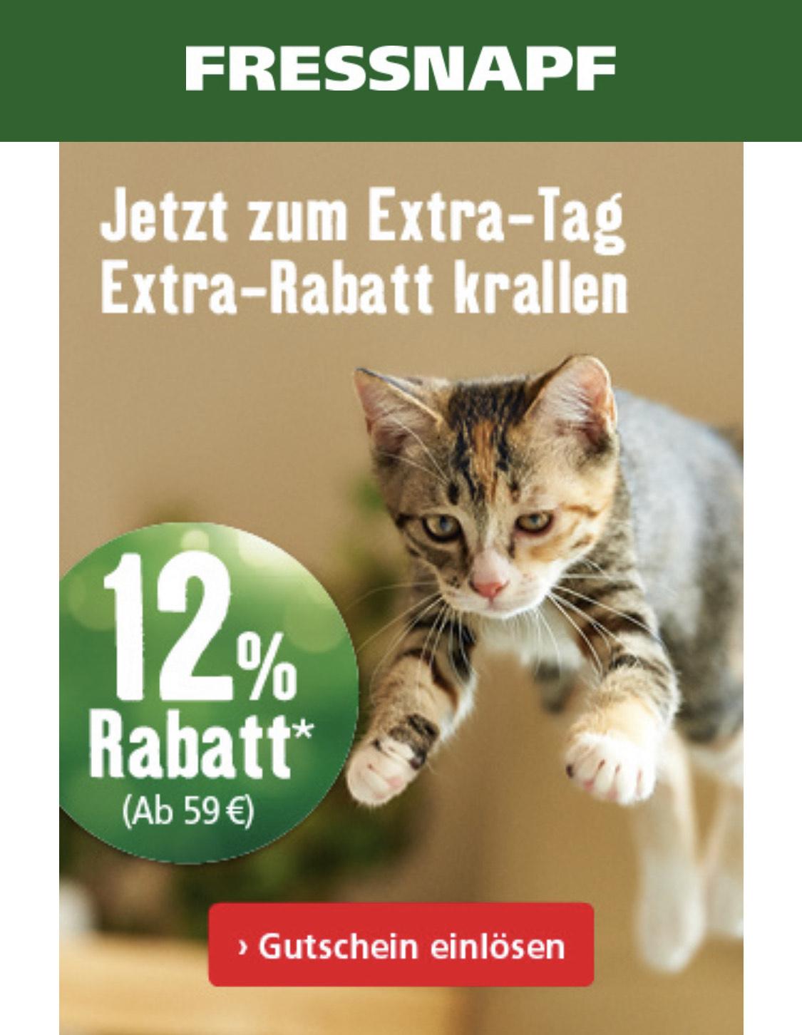 Fressnapf 12% Rabatt auf ALLES ab 59€
