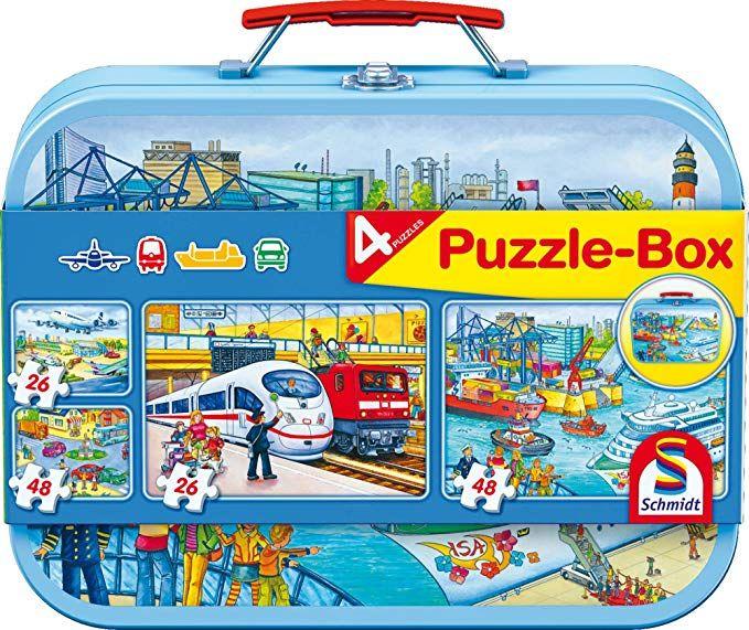 Schmidt Spiele Verkehrsmittel oder Sendung mit der Maus, Puzzle-Box im Metallkoffer, 2x26 und 2x48 Teile