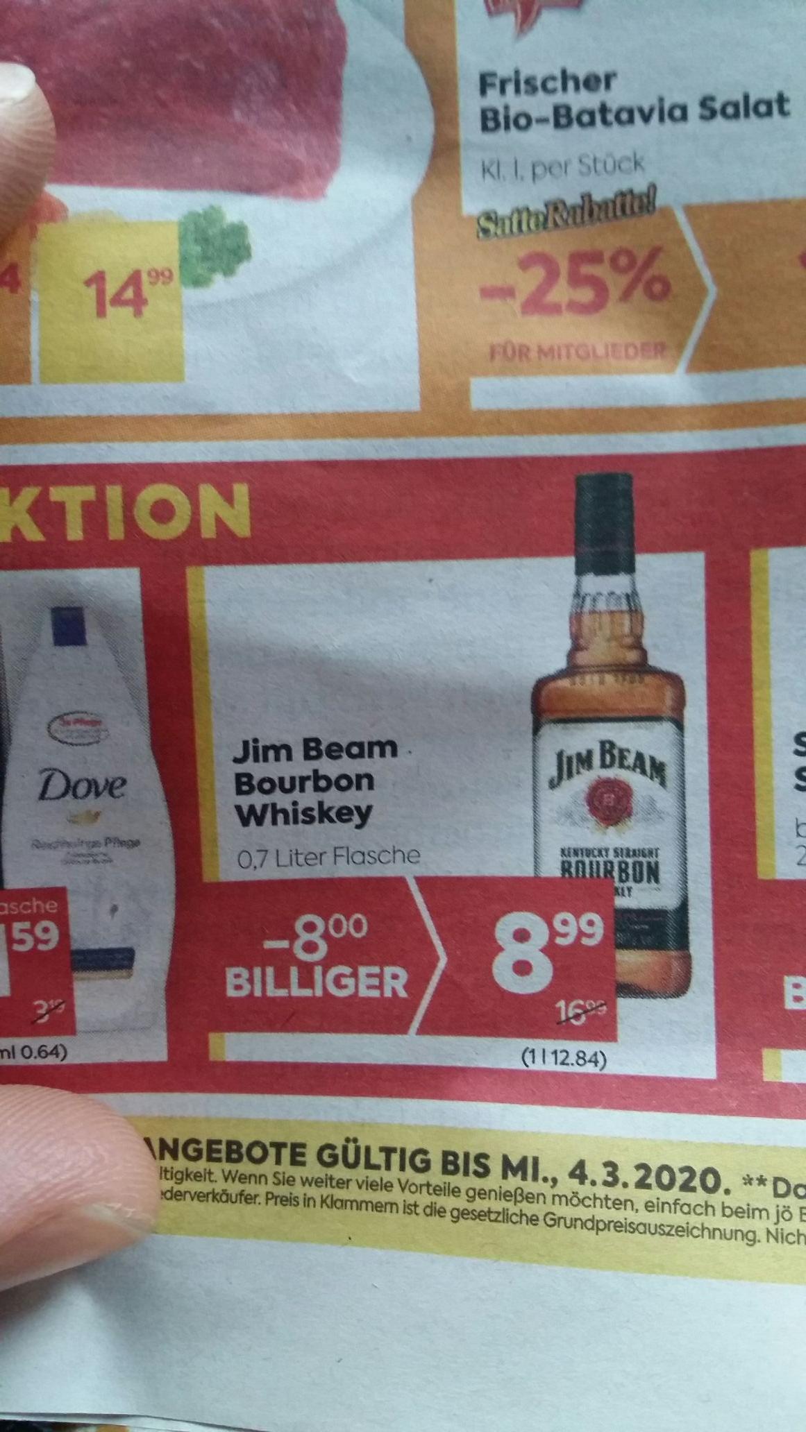 BILLA JIM BEAM BOURBON Whiskey 0,7 L Zuschlagen ;-)