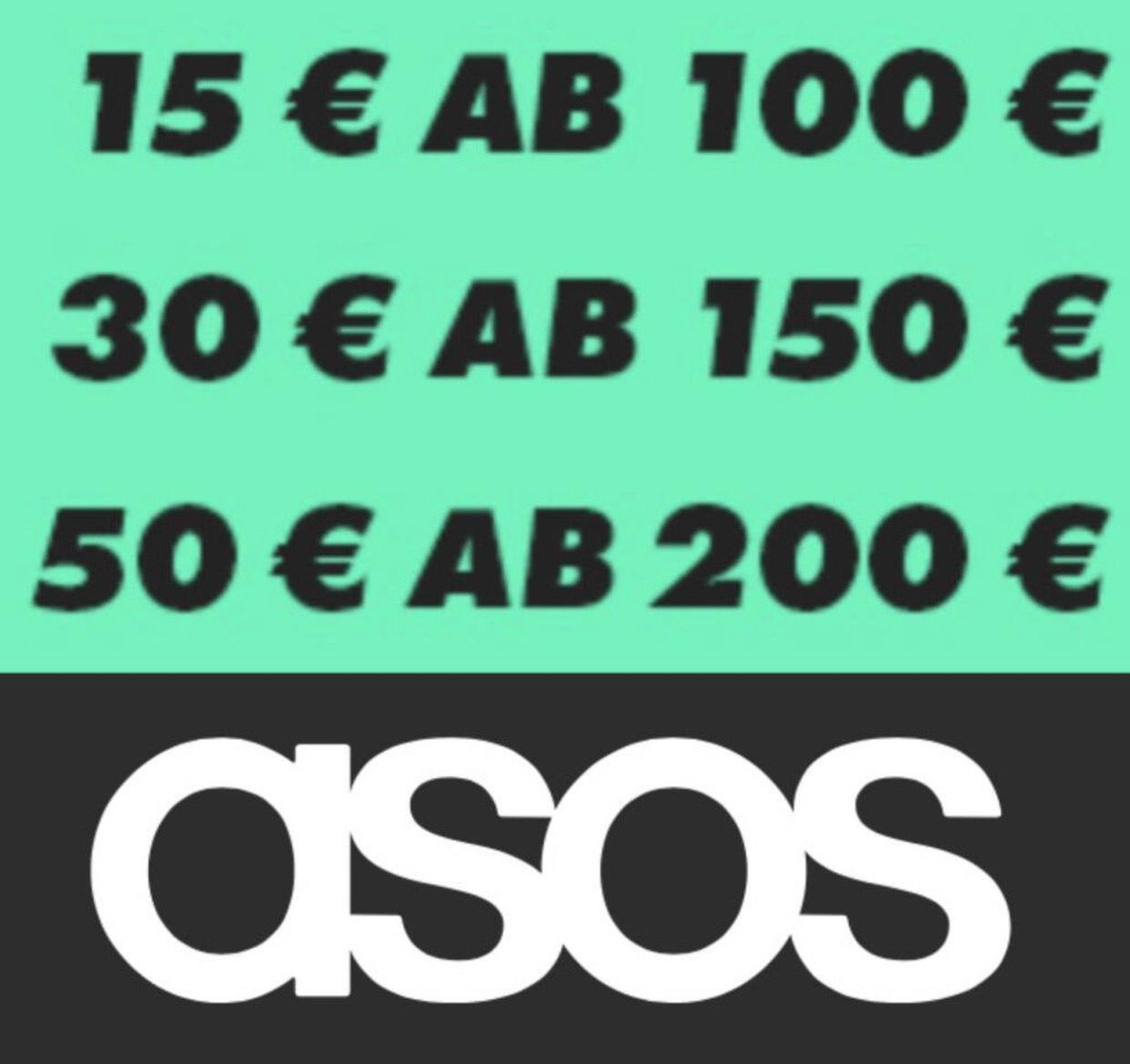 Asos: Gutscheine im Wert von 15€/30€/50€ ab einen Einkaufswert 100€/150€/200€
