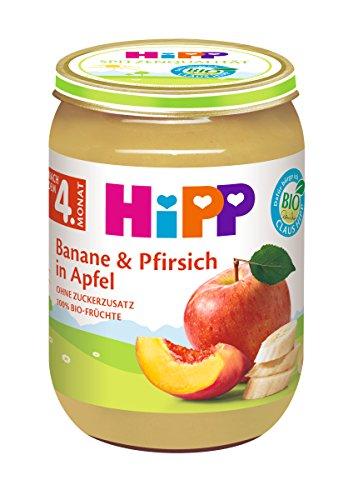 6x 190g HiPP Früchte Banane und Pfirsich in Apfel
