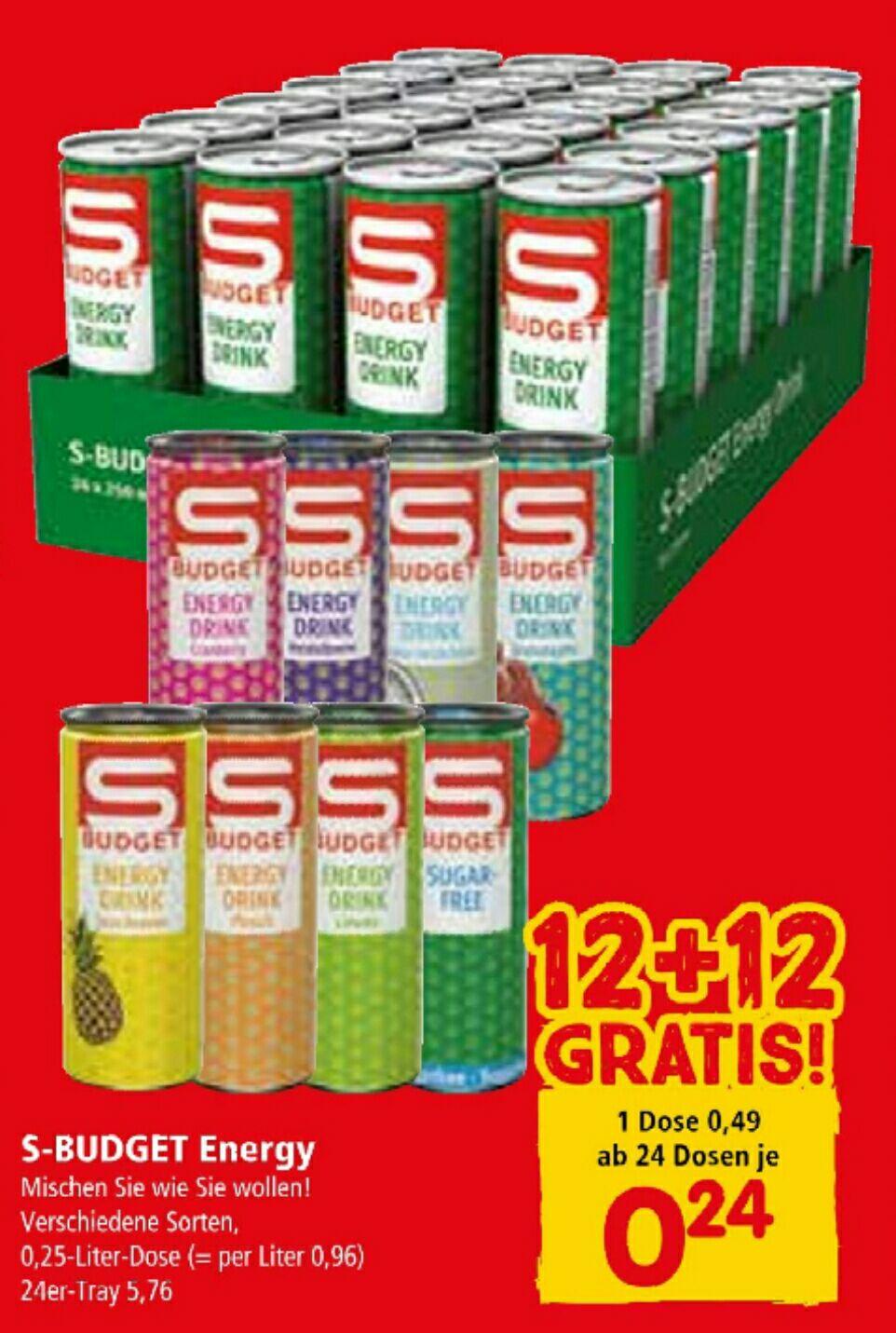 [Interspar] S-Budget Energy Drinks ab 24 Dosen nur 0,24€ ab 05.03.