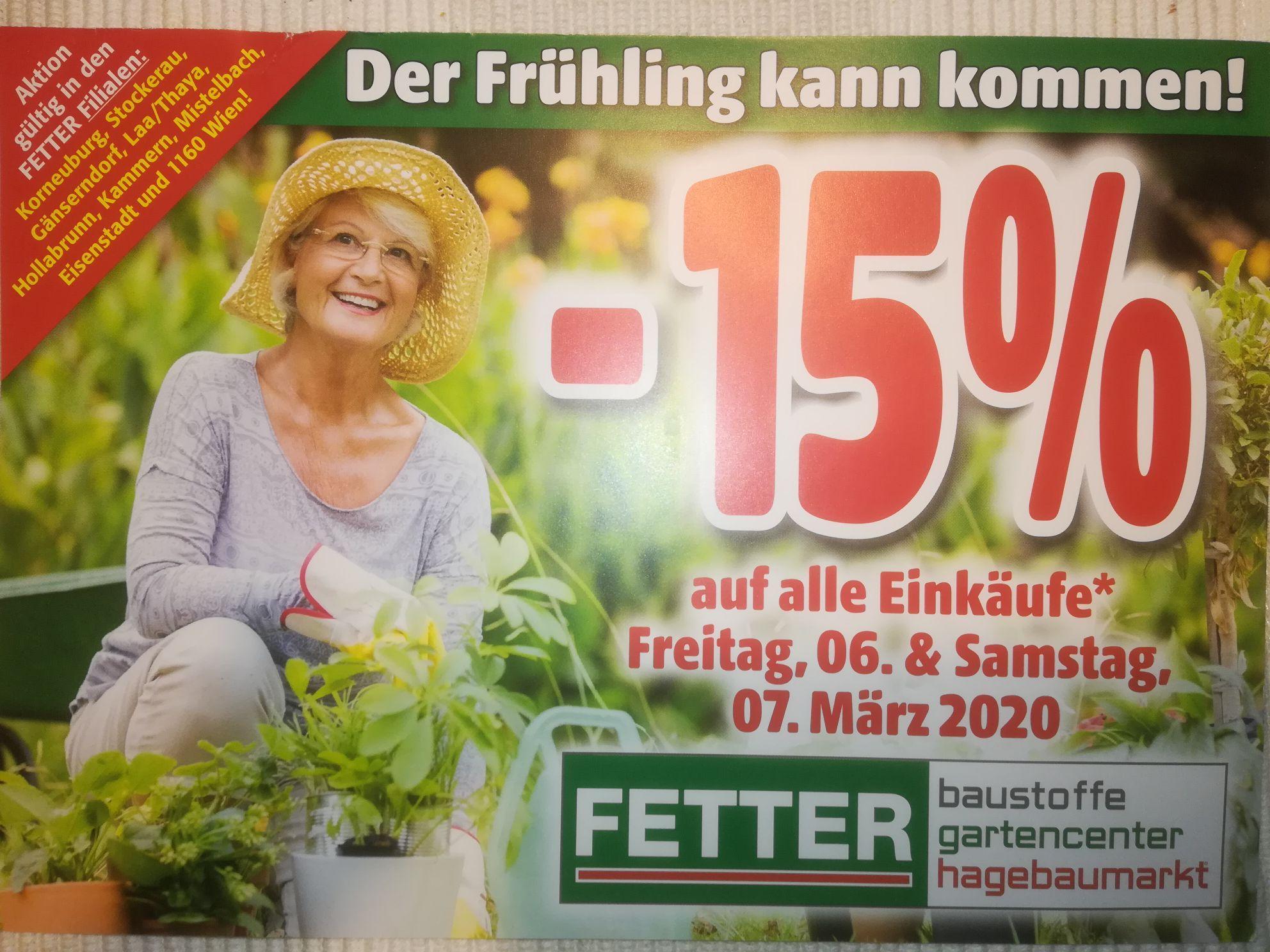 --15% in Fetter Baumärkten am 6. & 7. März 2020