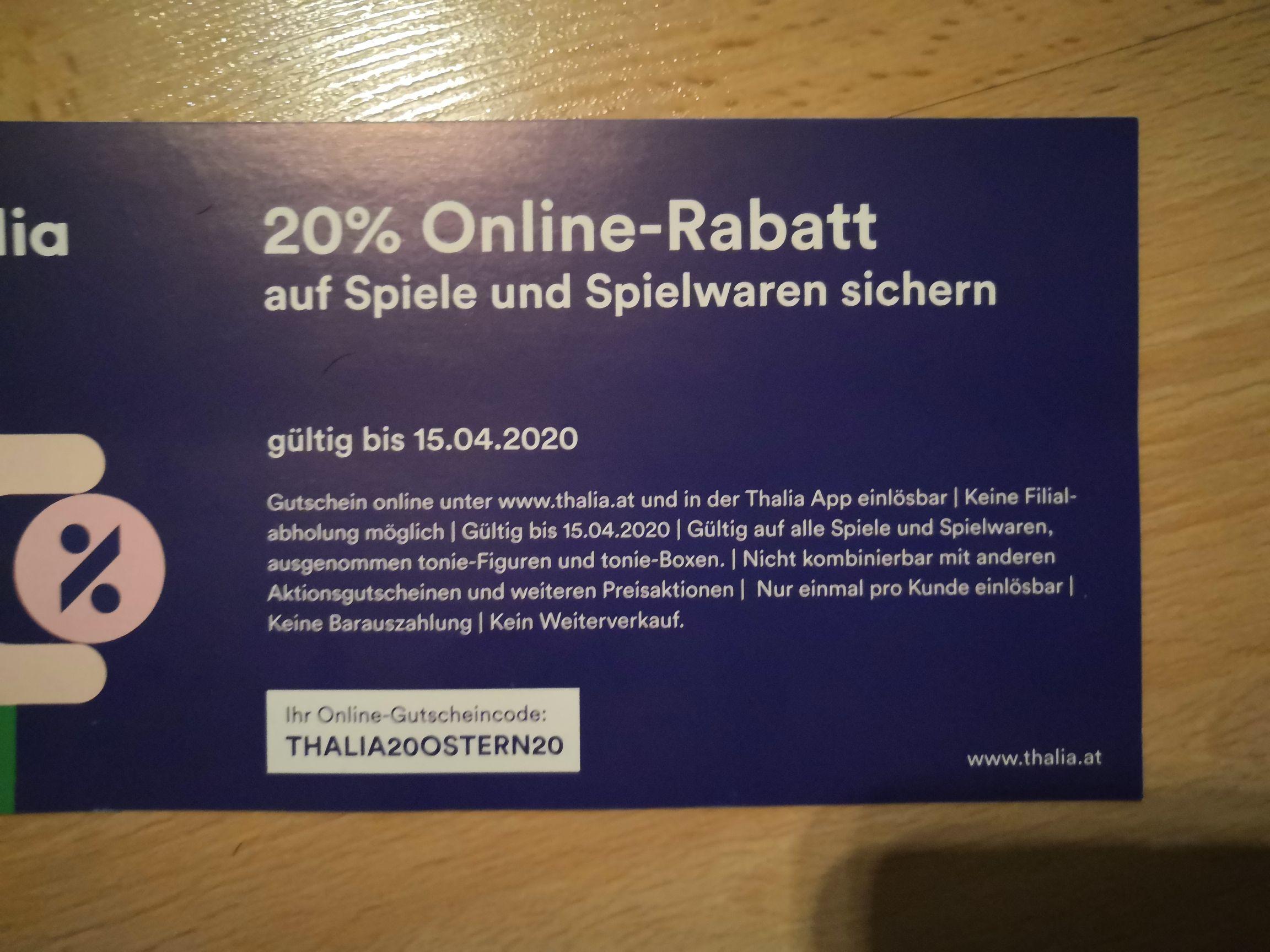Thalia 20% online rabatt