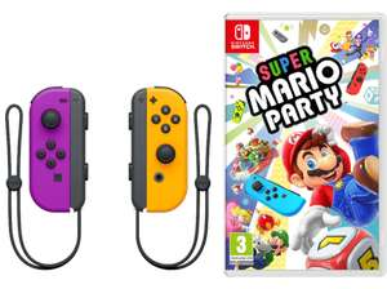 NINTENDO Joy-Con 2er-Set (neon-lila/neon-orange) + Super Mario Party