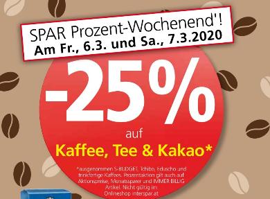 Spar -25% auf Kaffee, Tee & Kakao