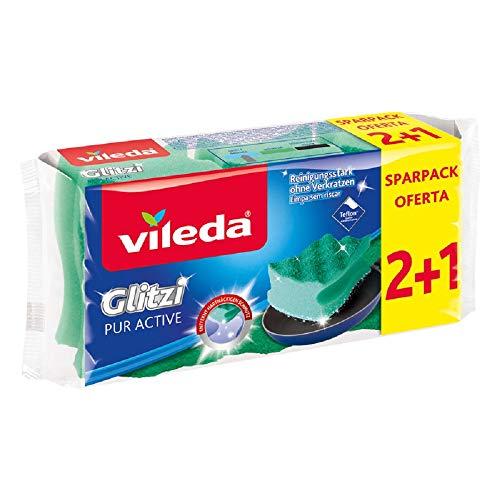 3er Vileda Glitzi PurActive für empfindliche Oberflächen im Vorratspack (Mindestabnahme 8 Packungen)