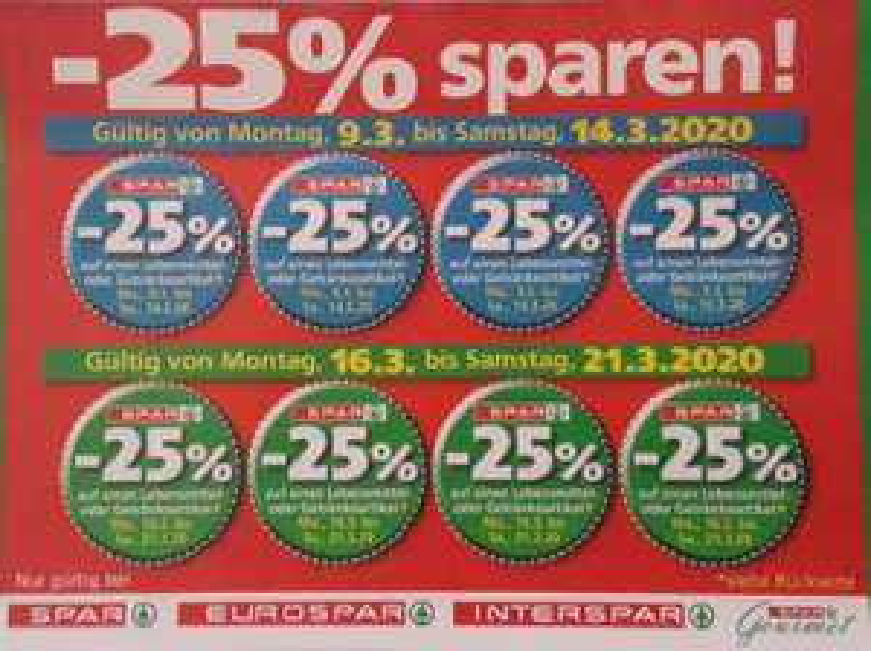 [Interspar, Eurospar, Spar, G-S] -25% Rabatt Sticker von 09.03. bis 21.03
