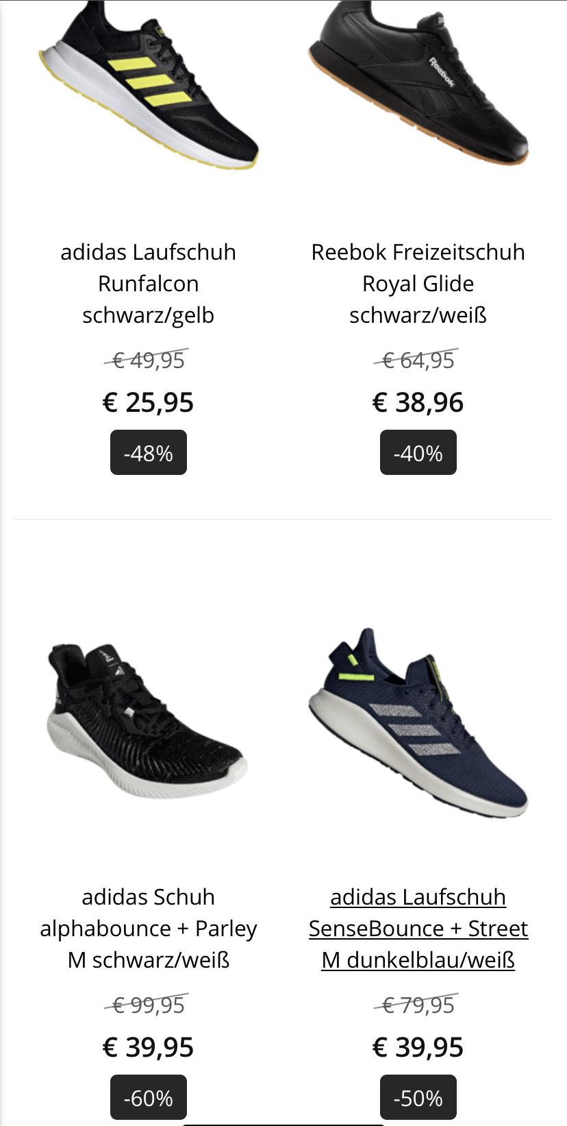 Reebok, Adidas, Nike Sneaker bis -60%, Nike Shorts -50%, Adidas Mütze -40%, X-Bionic Socken -70% usw. + gratis Lieferung!