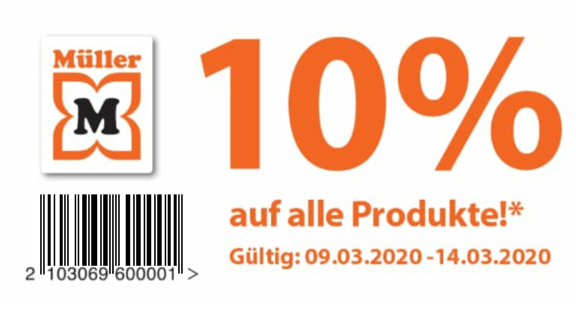 """Müller -10% auf """"alle"""" Produkte"""