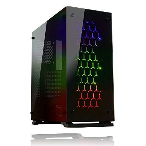 Game Max Onyx RGB Mid Tower ATX PC Fall mit 3 x RGB Fan und gehärtetem Glas Seite und Front – Schwarz