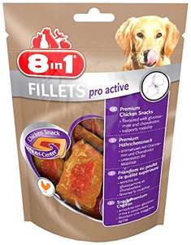 8in1 Fillets Pro Active Hähnchensnack, funktionale Leckerlies für Hunde (1 x 80 g)