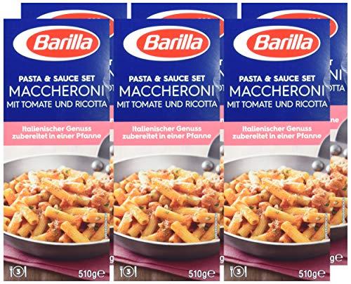 6x 510g Barilla Pasta & Sauce Set Maccheroni Tomate und Ricotta