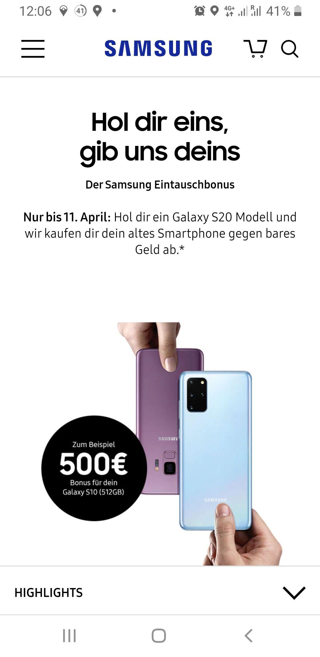 Samsung Galaxy S20/S20+/S20Ultra Eintauschaktion bis EUR 500