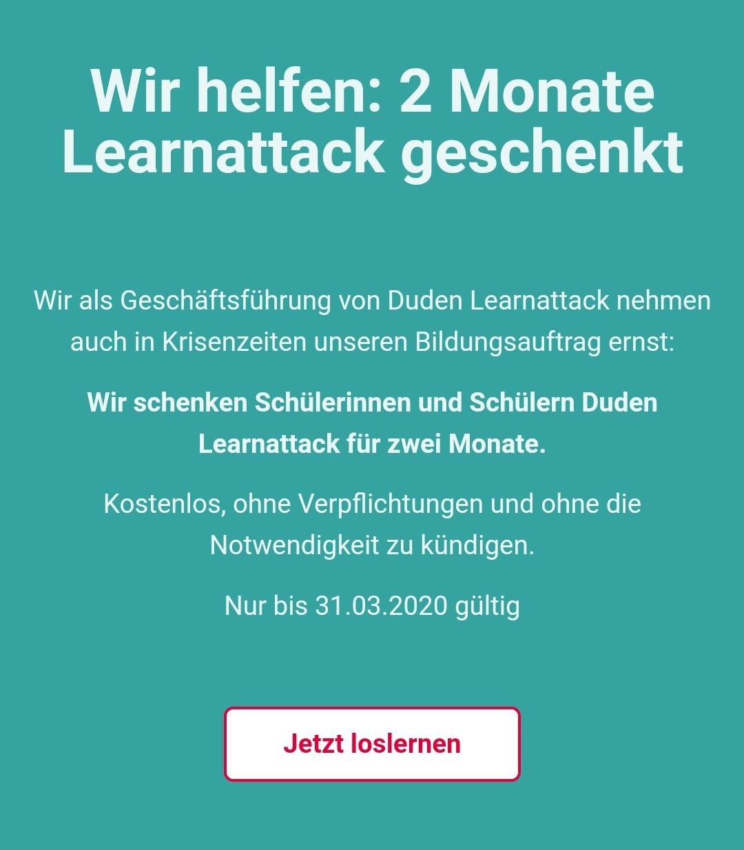 Duden Lernattack: 2 Monate kostenlos, automatisch endendes Abo