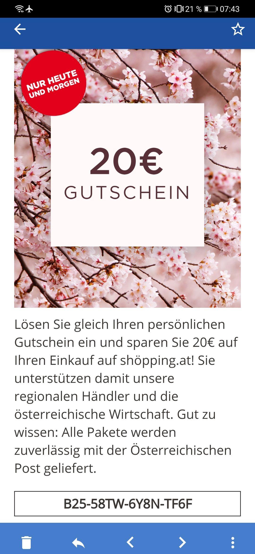 Scheinte personalisiert gewesen zu sein! 20€ Gutschein ab 99€ Gültig