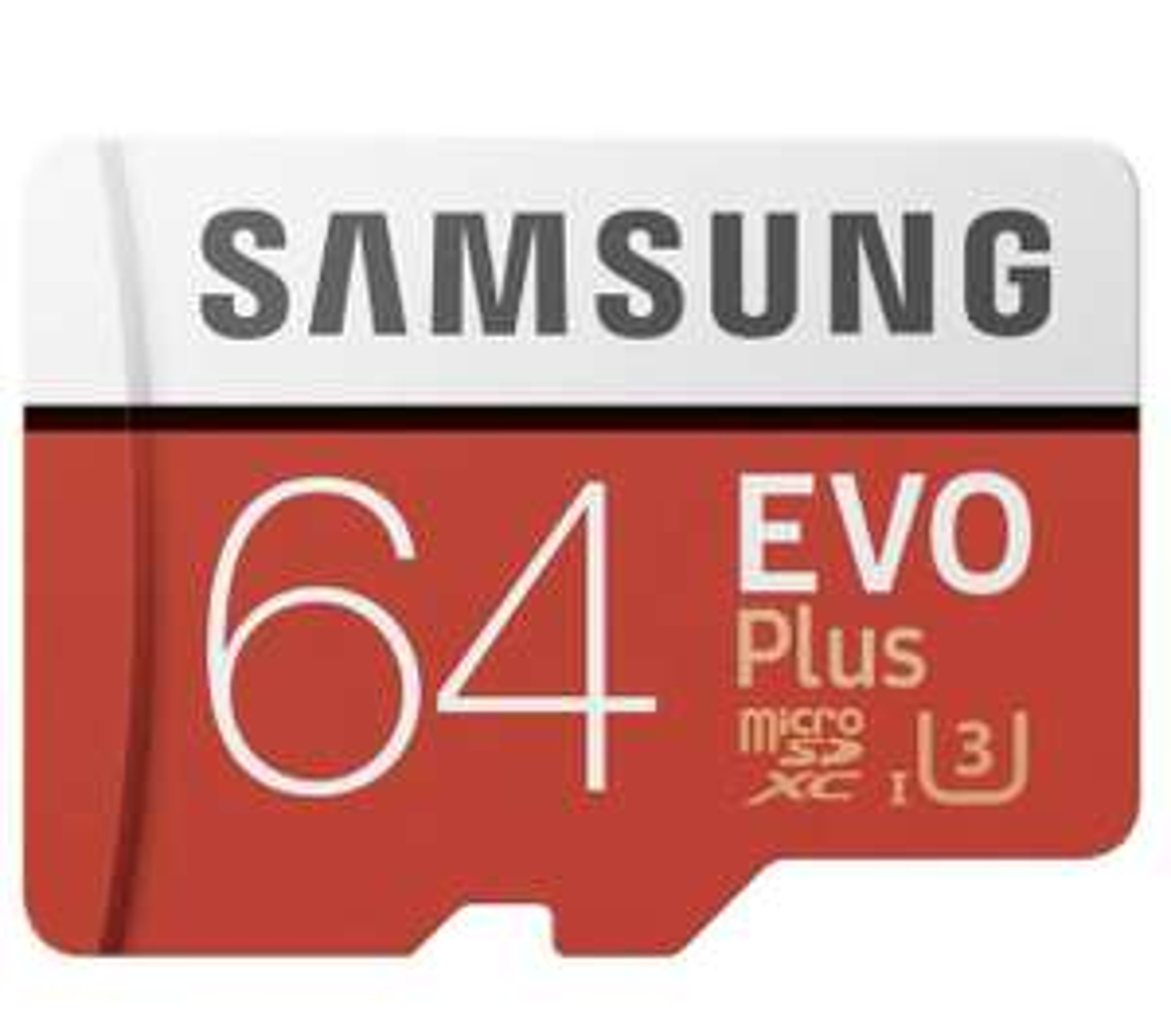 Samsung R100/W60 microSDXC EVO Plus 64GB Kit, UHS-I U3, Class 10