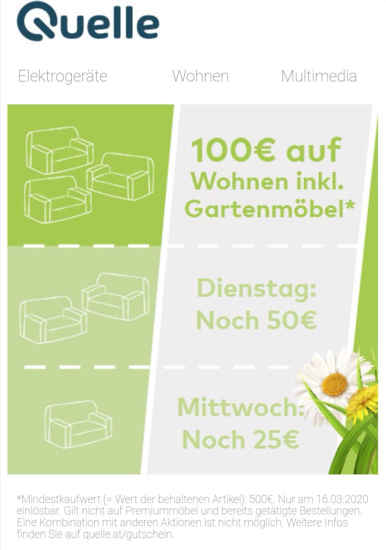 100€ auf Wohnen inkl. Garten Möbel ab 500€ Einkaufswert