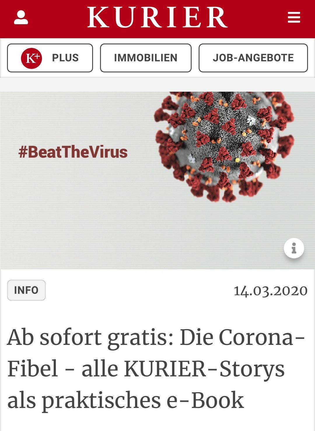 Ab sofort gratis: Die Corona-Fibel - alle KURIER-Storys als praktisches e-Book