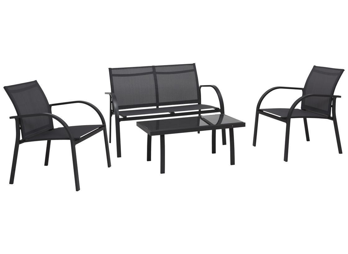 Loungegarnitur Kansas Textilene/Stahl 4-Teilig