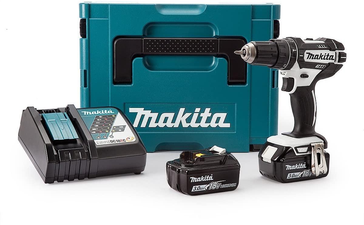 Makita DHP482RFWJ Akku-Schlagbohrschrauber inkl. MAKPAC + 2 Akkus 3.0Ah + Ladegerät