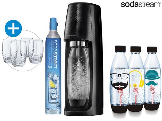SodaStream Spirit Wassersprudler mit 4 Flaschen und 4 Gläsern