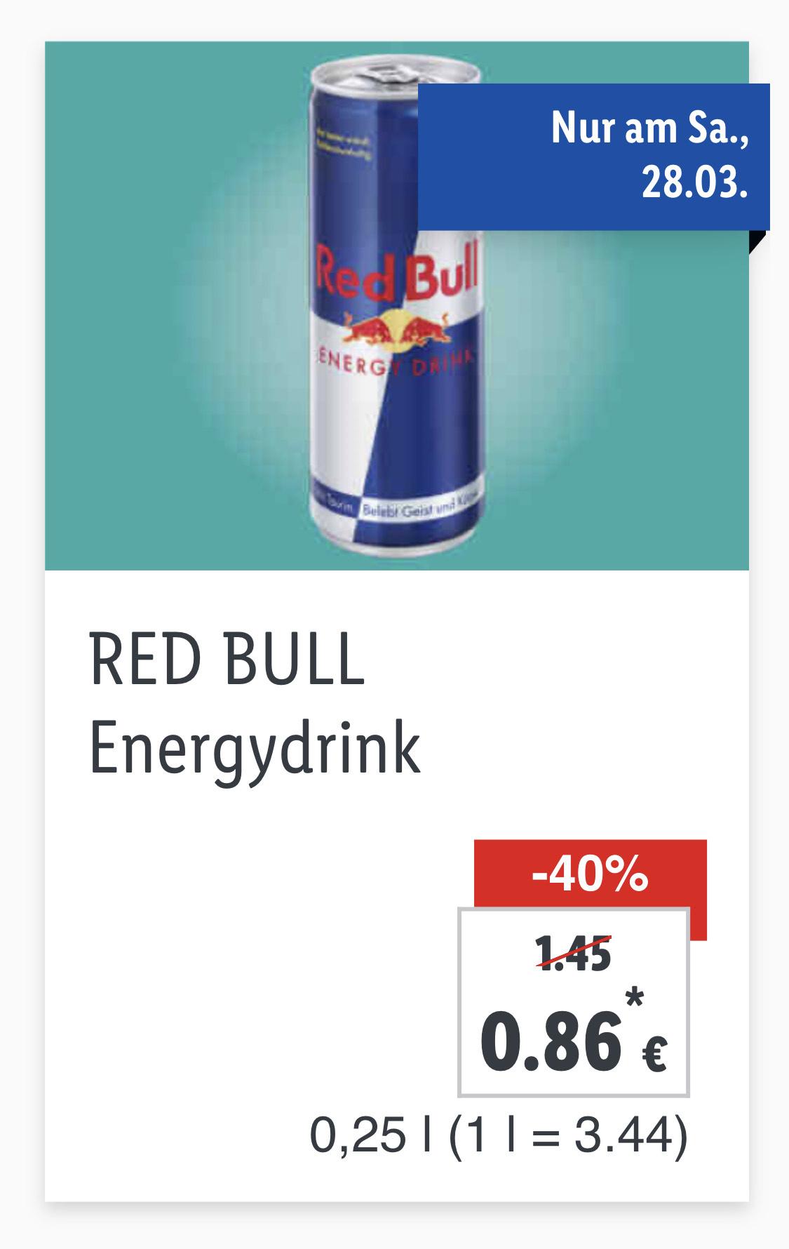 LIDL: Red Bull um €0,86 bzw. Lidl Plus App € 0,77