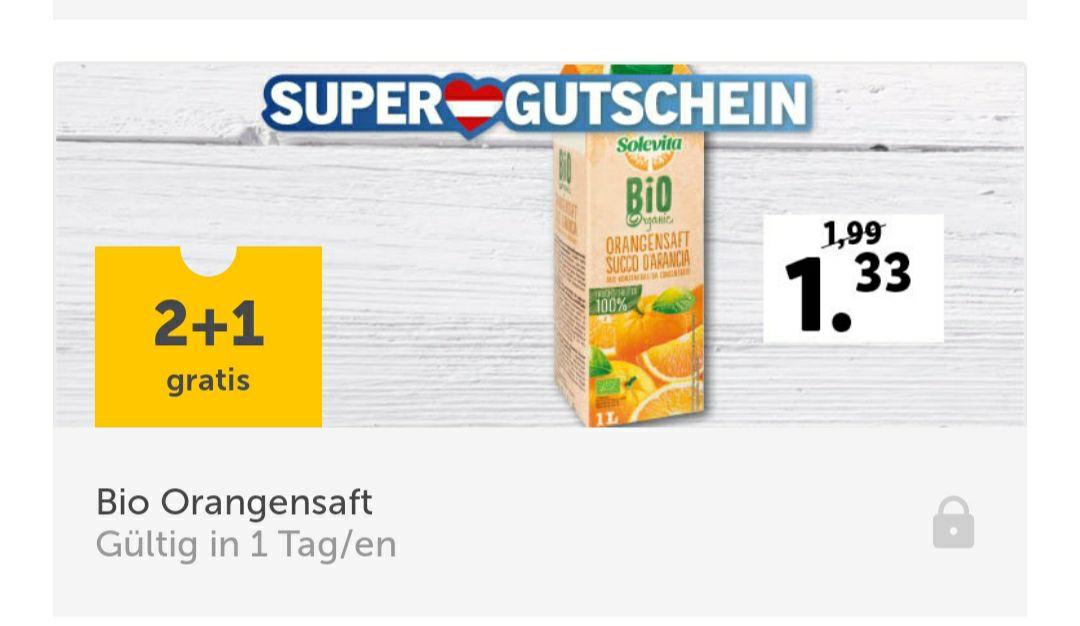 Lidl App Gutschein - Bio Orangensaft 2 + 1 Gratis (€1,33 pro Packung)