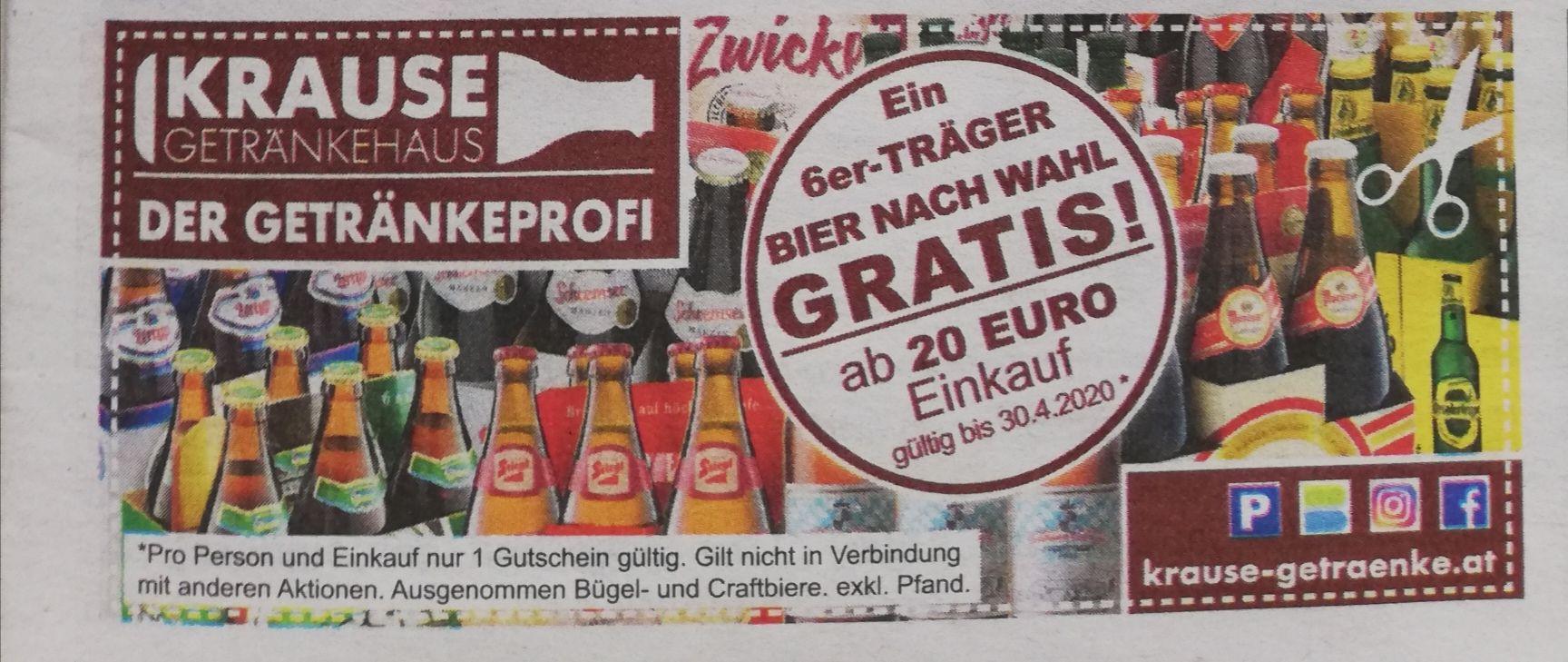 Ein 6er TrägerBier nach Wahl GRATIS ab 20 Euro Einkauf