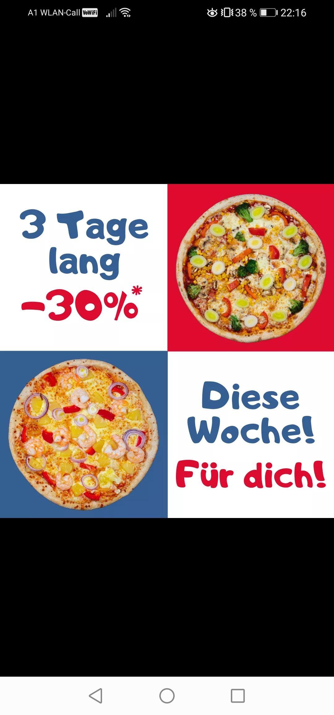 """DREI TAGE LANG """"PIZZA MANN TAG"""": -30% auf alle Speisen"""