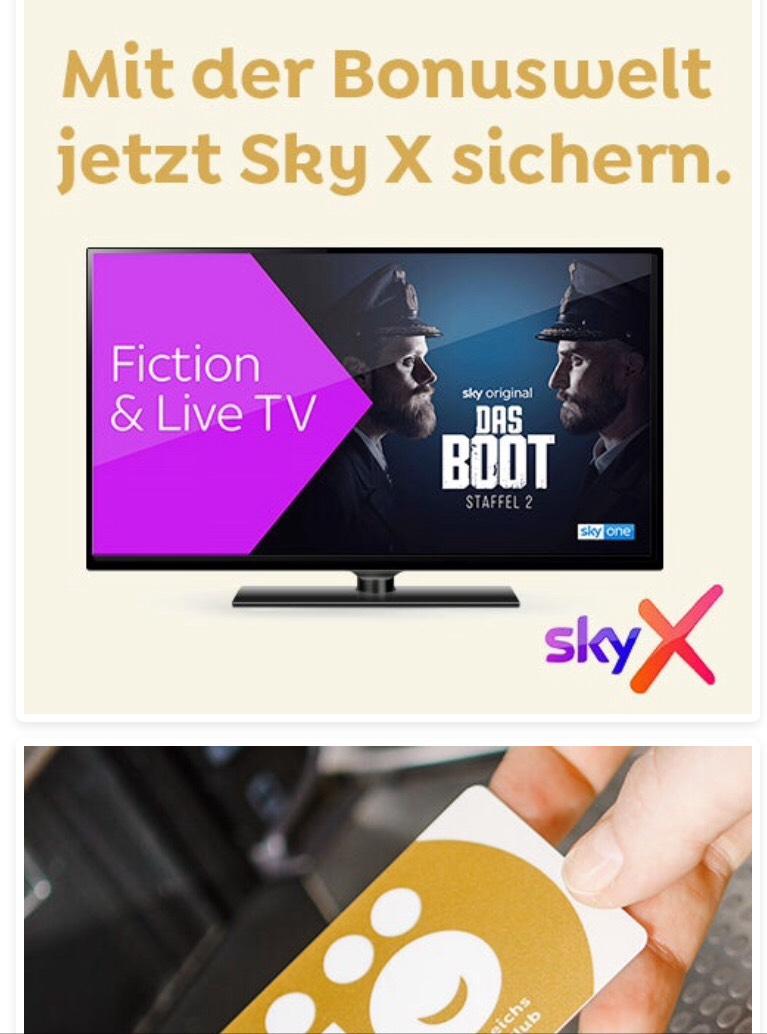 Sky X Fiction und Live Tv zwei Monate für 200 Ös Punkte