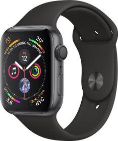 Apple Watch Series 4, 44mm grau mit Sportarmband schwarz