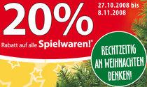 [Aktion] 20% Rabatt auf Spielwaren - Rechtzeitig an Weihnachten denken