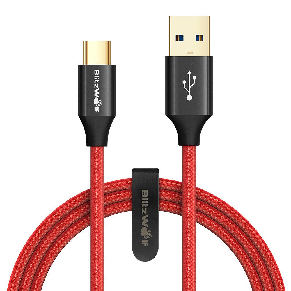 BlitzWolf AmpCore Turbo BW-TC9 3A geflochtenes haltbares USB 3.0 Typ-C-Datenkabel 0.9m