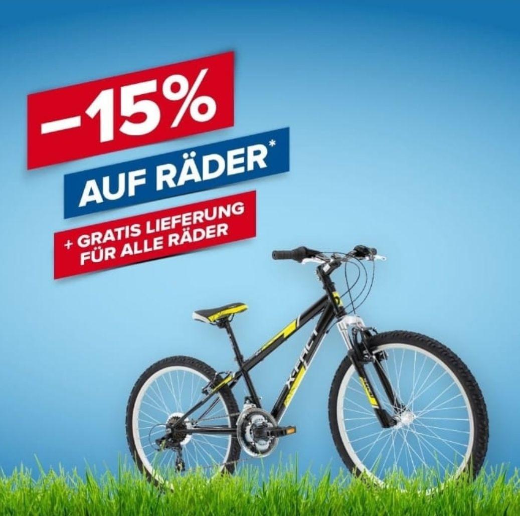 -15% auf Fahrräder bei Hervis