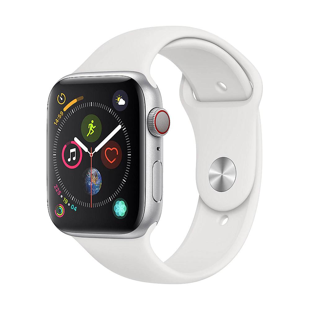 Apple Watch Series 4 LTE 44mm Aluminiumgehäuse Silber mit Sportarmband Weiß