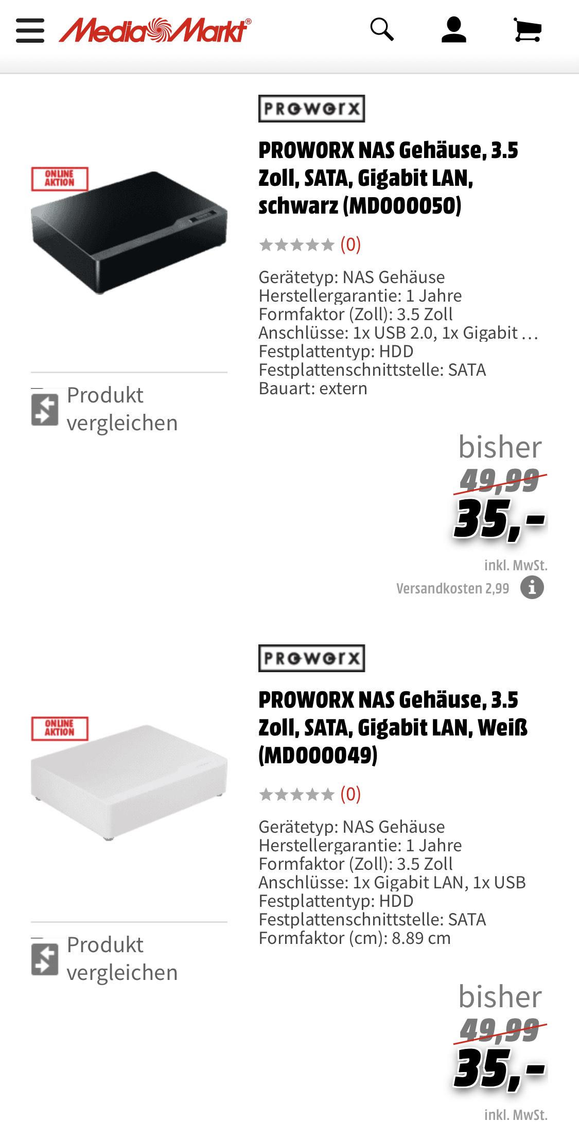 PROWORX NAS Gehäuse, 3.5 Zoll, SATA, Gigabit LAN, Weiß