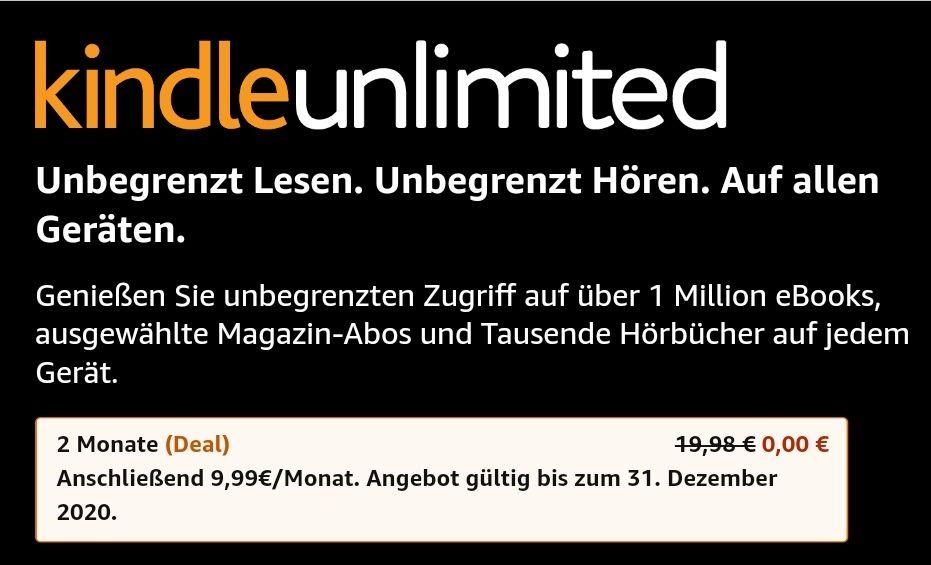 Kindle Unlimited kostenlos (1-2 Monate)