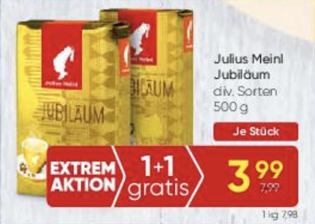 Angebot Julius Meinl Jubiläum 500g gemahlen oder Ganze Bohne plus 25% Nachlass