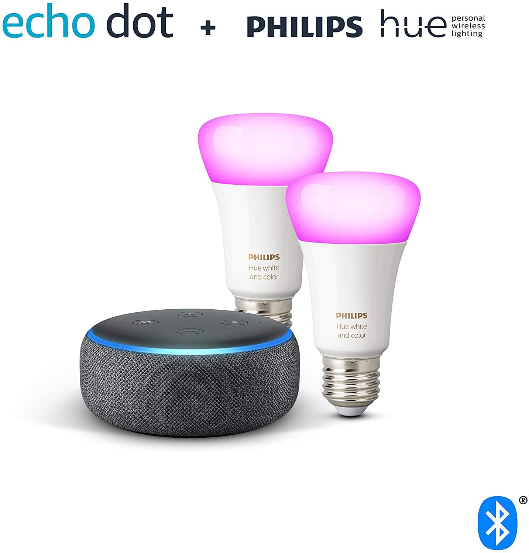 (Sammeldeal) Echo Dot 3. Gen. / Echo Flex+ / Echo Dot 3. Gen. mit Uhr + Philips Hue Color LED-Lampe Doppelpack (E27)