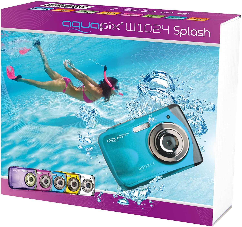 Easypix W1024 Splash Digitalkamera, 10 Megapixel, 4-fach digitaler Zoom, 2,4 Zoll in Gelb, Pink oder Blau