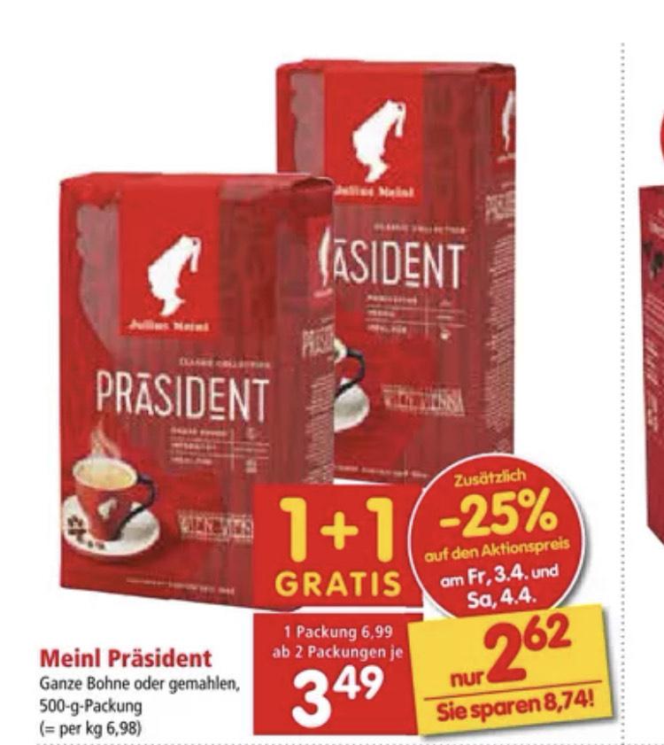 Julius Meinl Präsident Kaffee 1+1 gratis / 2,62€/Pkg
