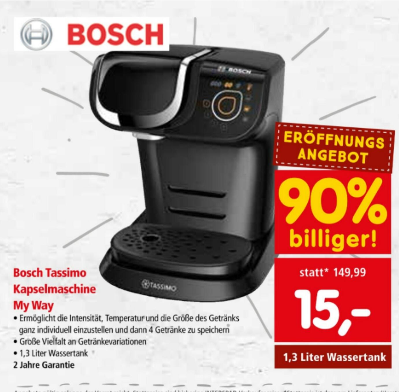 [INTERSPAR Wien Alt-Erlaa] Angebote z.B. Bosch Tassimo Kapselmaschine My Ways um nur 15€ ab morgen 01.04. (Bestpreis!)