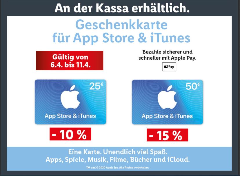 Lidl -10-15 % auf Apple App Store & iTunes Geschenkkarten
