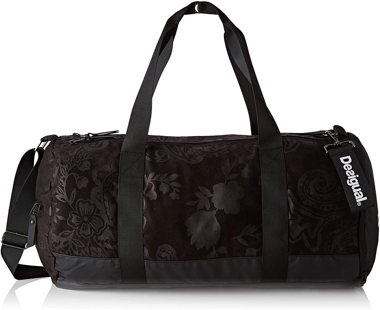 Desigual Damen Tubular Sport Bag Ethnic Schultertasche, Schwarz (Negro), 26x48x22 cm