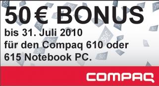 50€ Cashback Bonus für Compaq 610 + 615 und ein Compaq Angebot für Österreicher